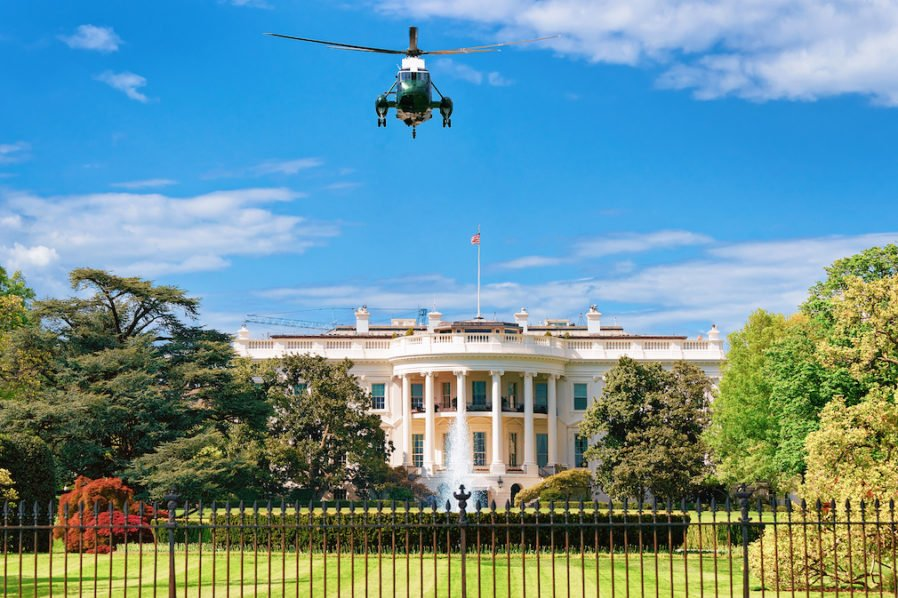 Helicopter flight towards White House in Washington DC